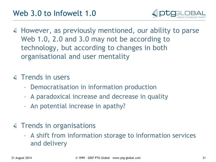Web 3.0 to Infowelt 1.0