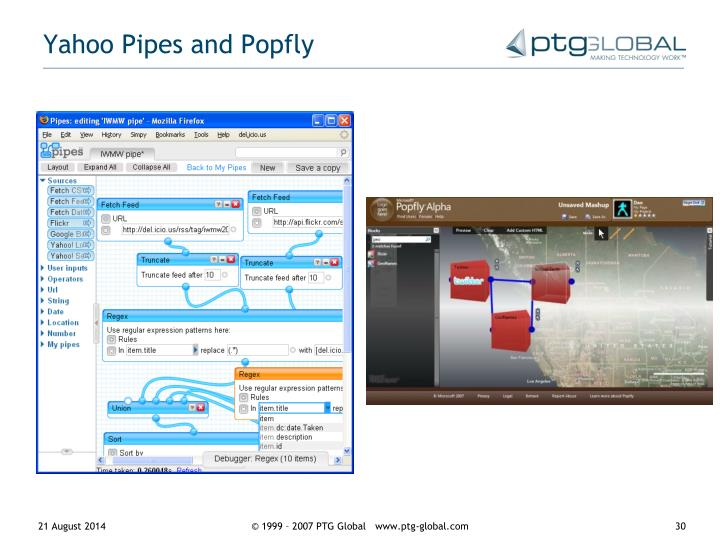 Yahoo Pipes and Popfly