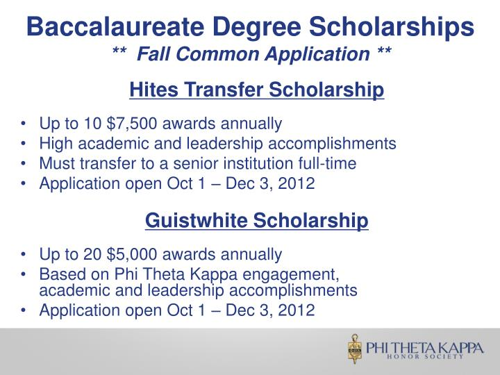 Baccalaureate Degree Scholarships