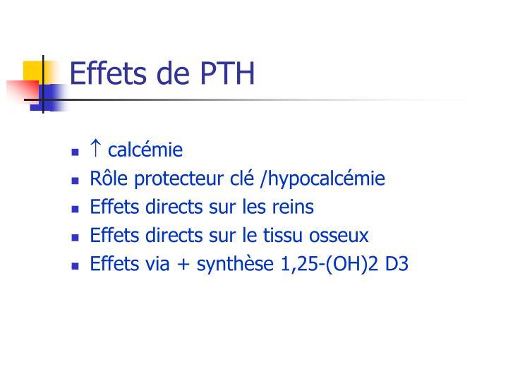 Effets de PTH