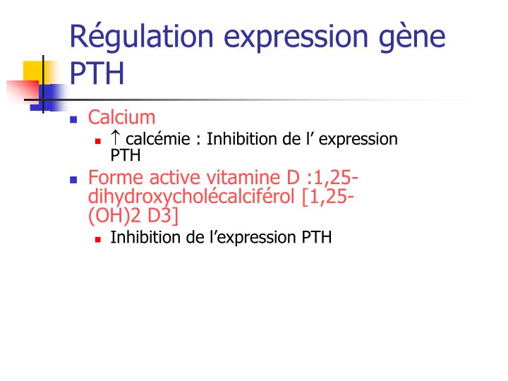 Régulation expression gène PTH