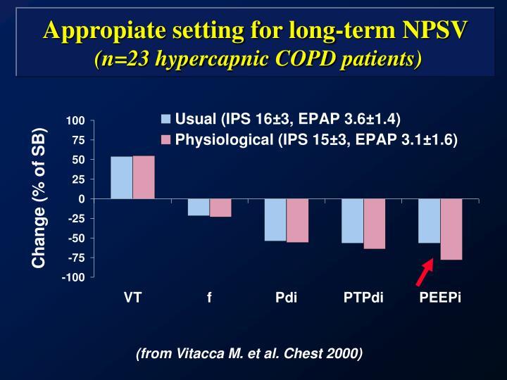 Appropiate setting for long-term NPSV