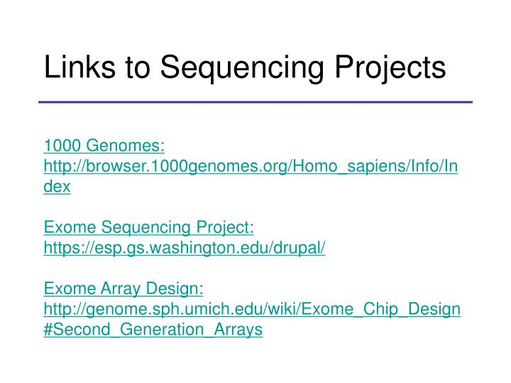 Links to Sequencing Projects