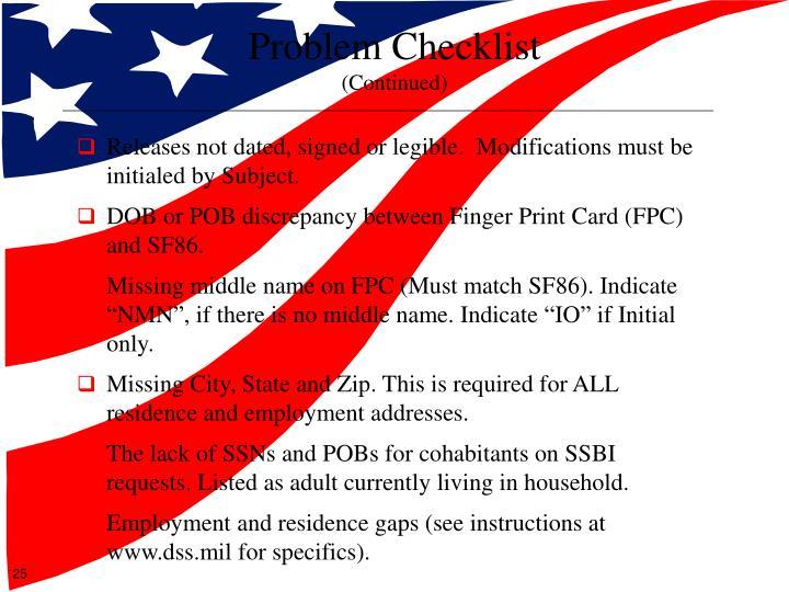 Problem Checklist