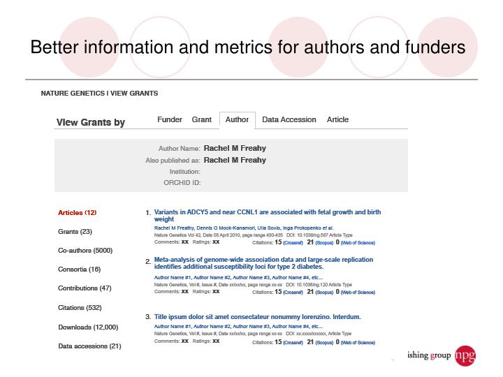 Better information and metrics for authors and funders