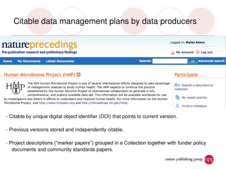 Citable data management plans by data producers