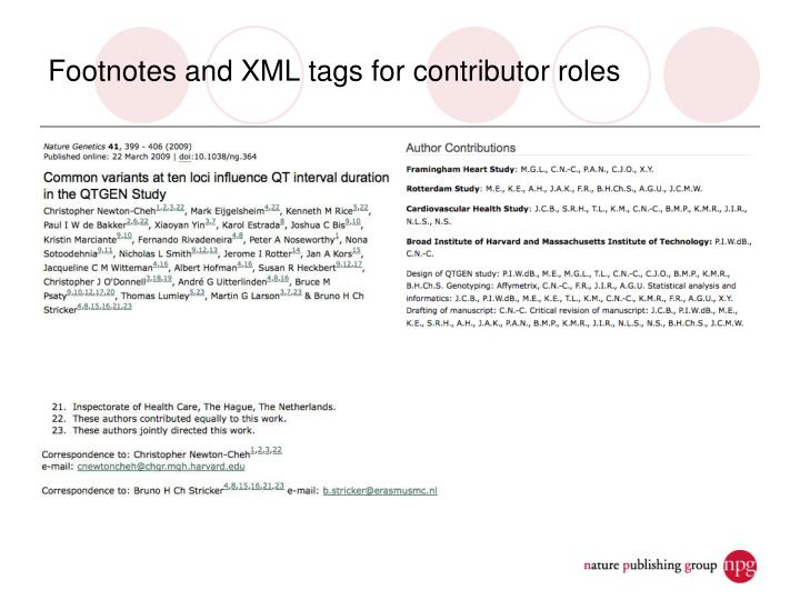 Footnotes and XML tags for contributor roles