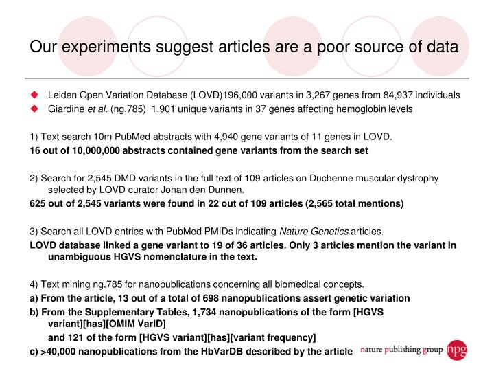 Our experiments suggest articles are a poor source of data