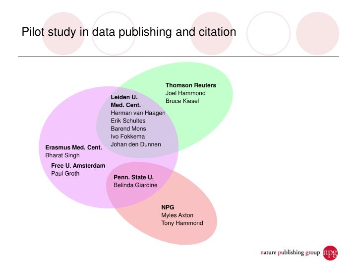 Pilot study in data publishing and citation