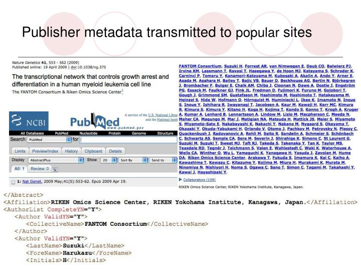 Publisher metadata transmitted to