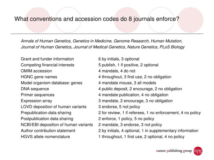 What conventions and accession codes do 8 journals enforce?