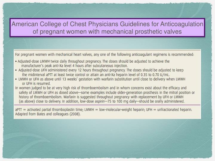 American College of Chest Physicians Guidelines for Anticoagulation of pregnant women with mechanical prosthetic valves