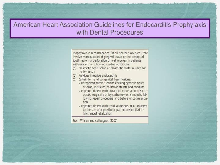 American Heart Association Guidelines for Endocarditis Prophylaxis  with Dental Procedures