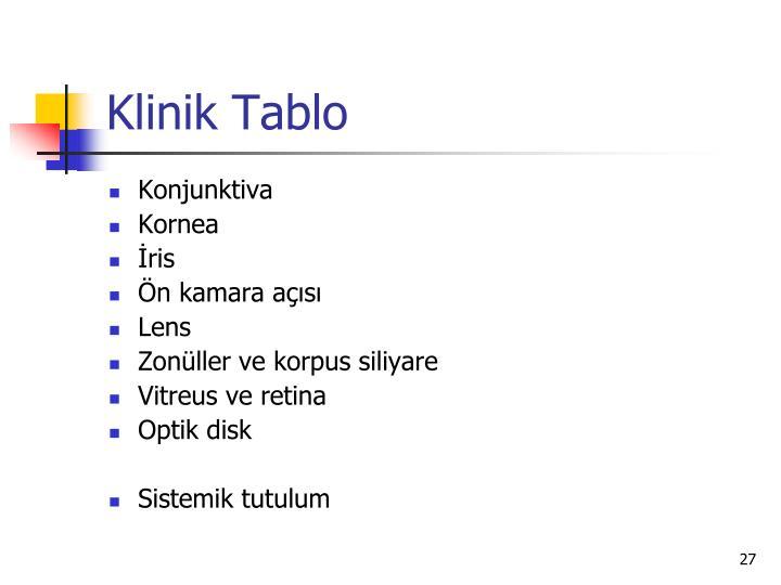 Klinik Tablo