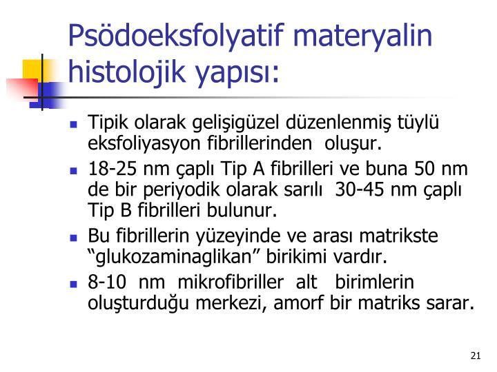 Psödoeksfolyatif materyalin histolojik yapısı: