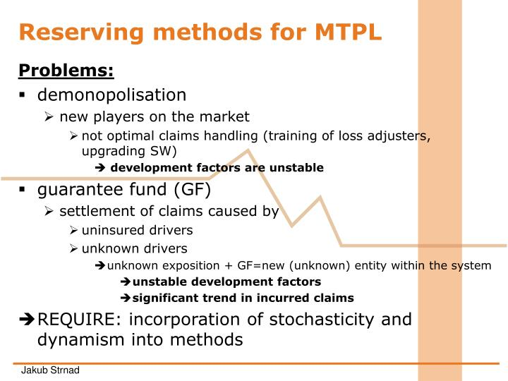 R eserving methods for mtpl