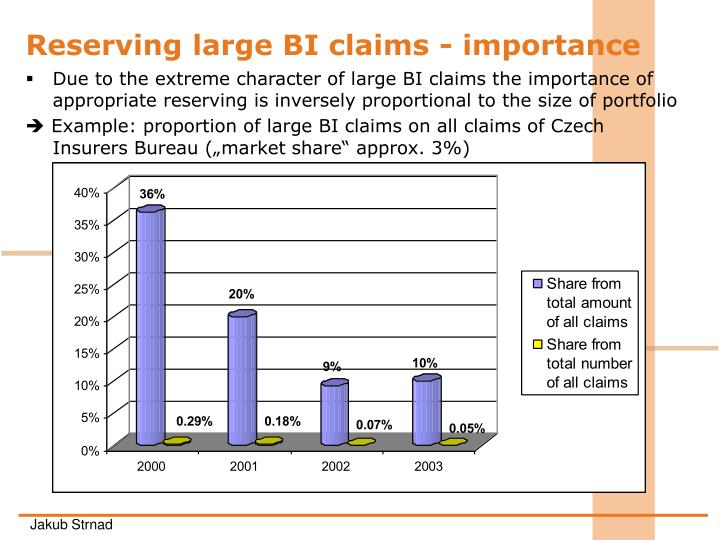 Reserving large BI claims - importance