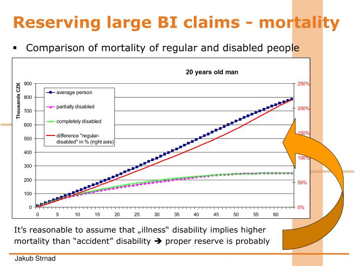 Reserving large BI claims - mortality