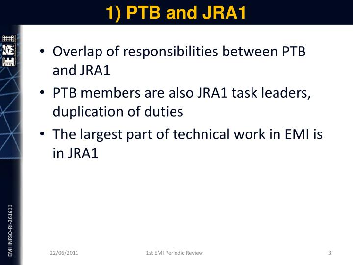1) PTB and JRA1
