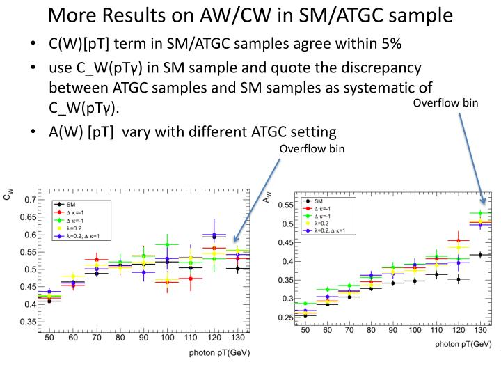 More Results on AW/CW in SM/ATGC sample