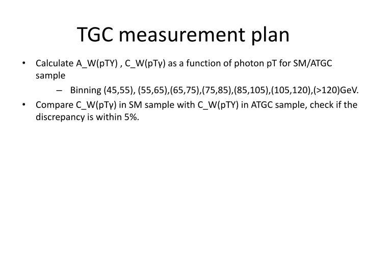 TGC measurement plan