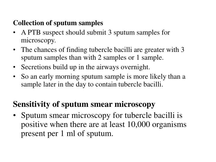 Collection of sputum samples