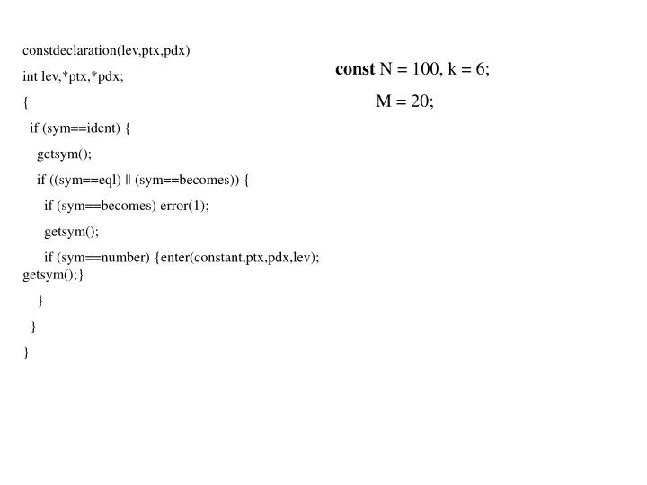 constdeclaration(lev,ptx,pdx)