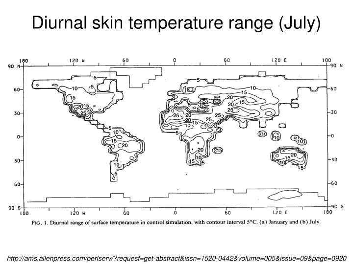 Diurnal skin temperature range (July)