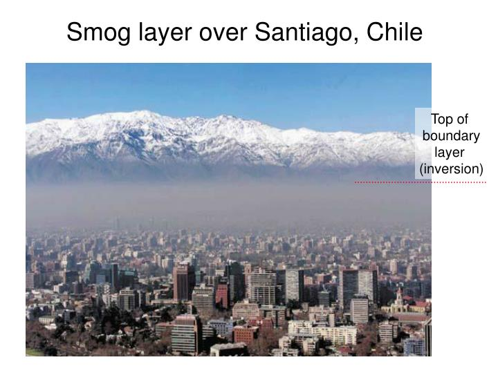 Smog layer over Santiago, Chile