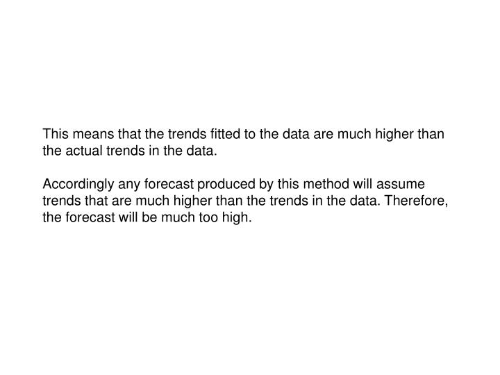 This means that the trends fitted to the data are much higher than the actual trends in the