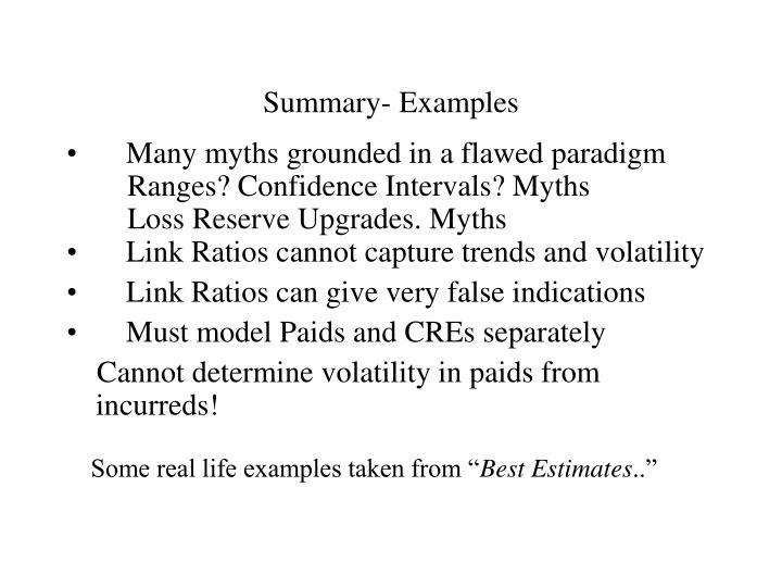Summary- Examples