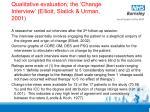qualitative evaluation the change interview elliott slatick urman 2001