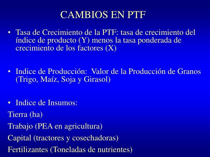 CAMBIOS EN PTF