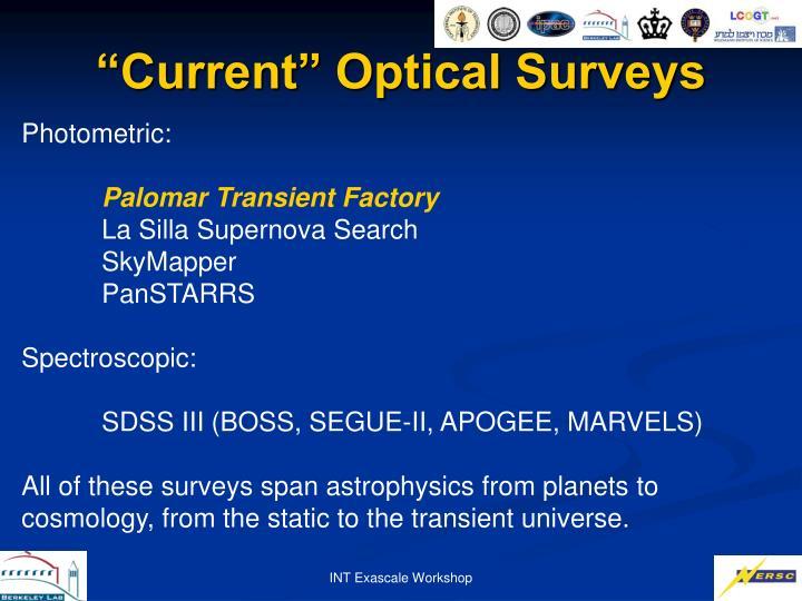 """Current"" Optical Surveys"