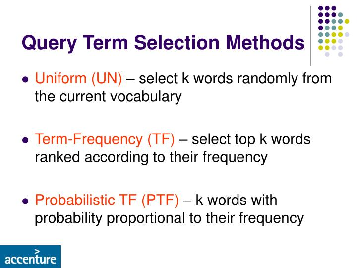 Query Term Selection Methods