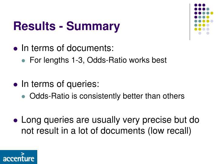Results - Summary