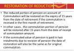 restoration of reduction