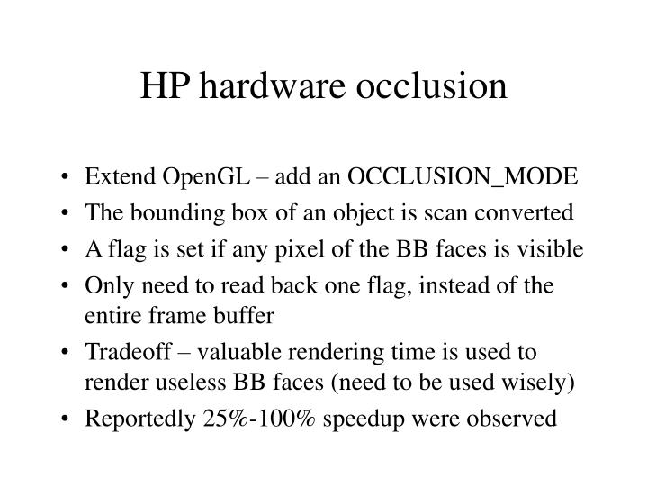 HP hardware occlusion
