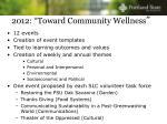 2012 toward community wellness