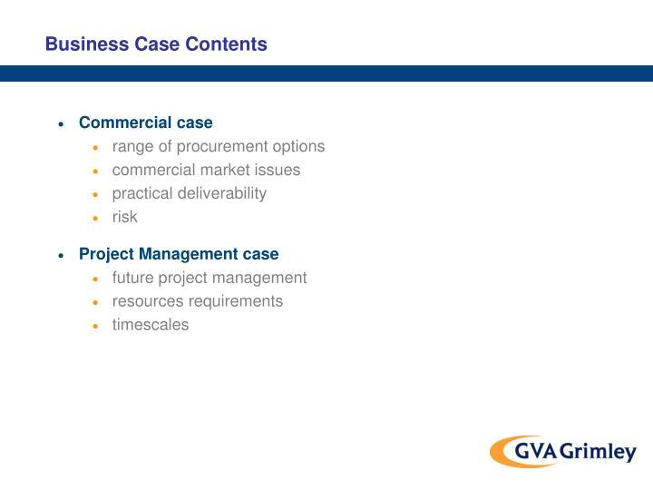 Business Case Contents