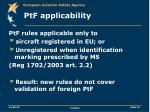 ptf applicability