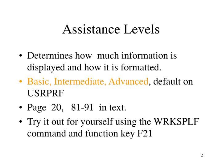 Assistance Levels