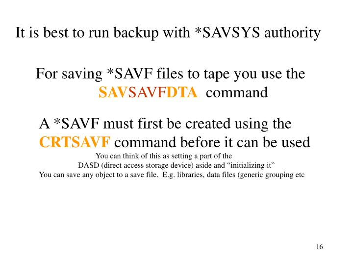 It is best to run backup with *SAVSYS authority