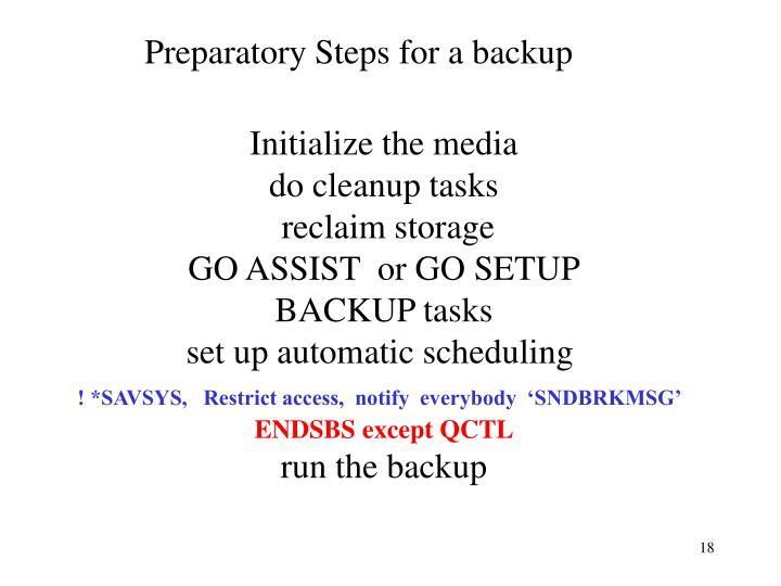 Preparatory Steps for a backup