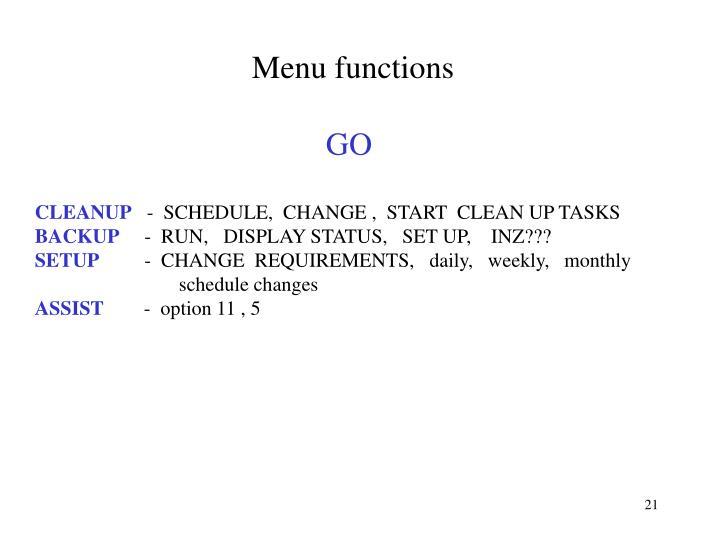 Menu functions