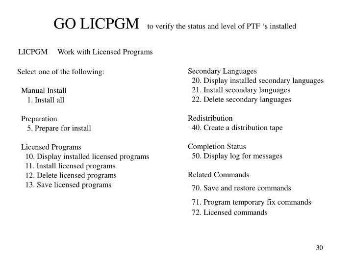 GO LICPGM