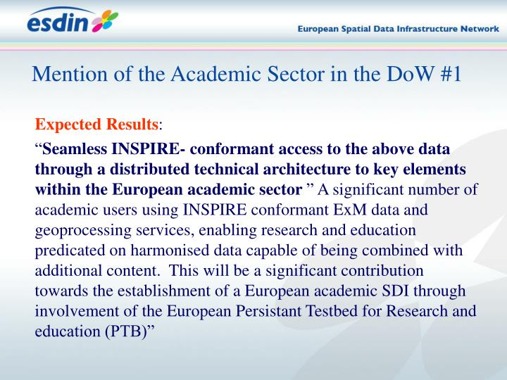Mention of the Academic Sector in the DoW #1