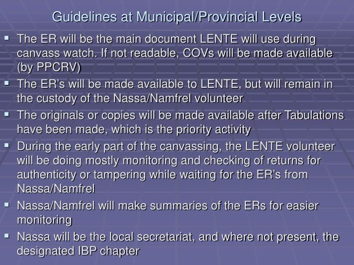 Guidelines at Municipal/Provincial Levels