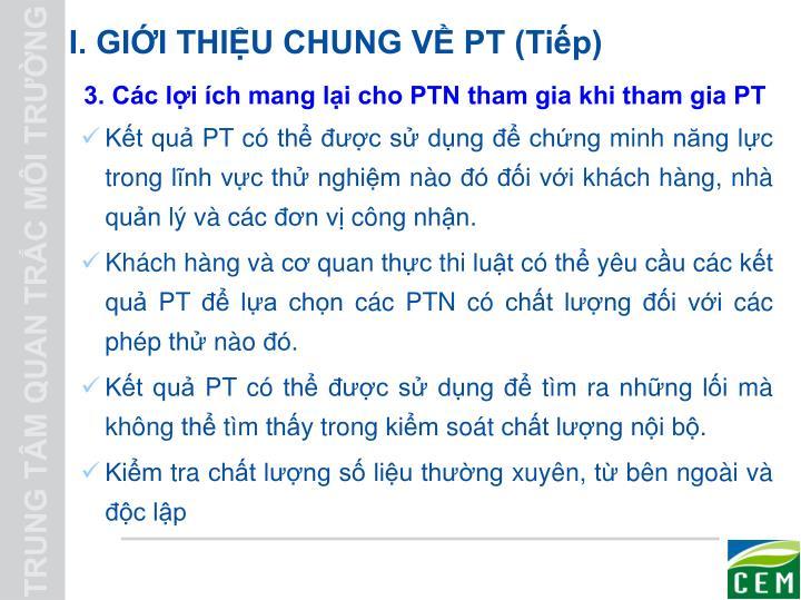 I. GIỚI THIỆU CHUNG VỀ PT (Tiếp)