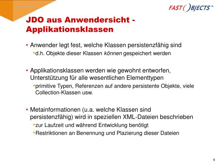 JDO aus Anwendersicht - Applikationsklassen